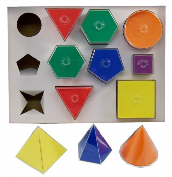 Folding 2D/3D Geometric Solids, 10cm. 11 shapes