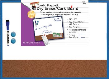 "Magnetic Combo Dry Erase/Cork Board 17""x23"" - Blue"