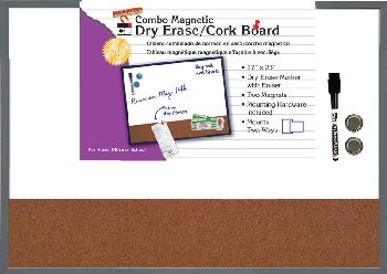 "Magnetic Combo Dry Erase/Cork Board 17""x23"" - Gray"
