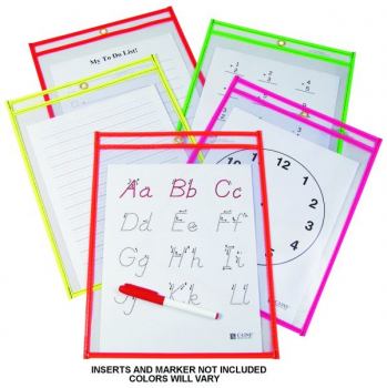 Reusable Dry Erase Pocket 9x12 Neon EA