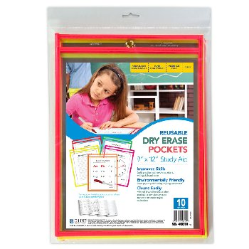 C-Line Reusable Dry Erase Pocket Assorted 10 Pack