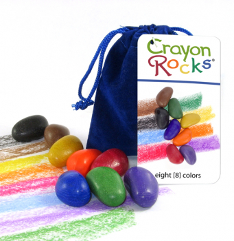 Crayon Rocks-8 Primary Colors Blue Velvet Bag