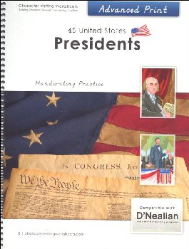45 United States Presidents Character Writing Worksheets D'Nealian Advanced Print