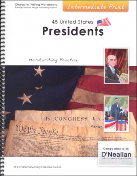 45 United States Presidents Character Writing Worksheets D'Nealian Intermediate Print