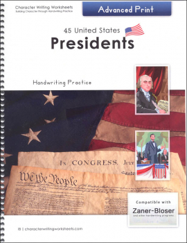 45 United States Presidents Character Writing Worksheets Zaner-Bloser Advanced Print
