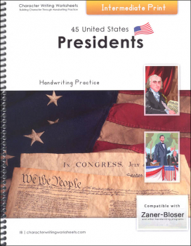 45 United States Presidents Character Writing Worksheets Zaner-Bloser Intermediate Print