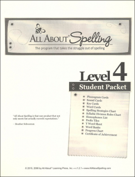 All About Spelling Level 4 Student Material Packet