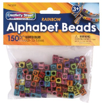 Alphabet Beads: Assorted Rainbow Colors (150 pieces)
