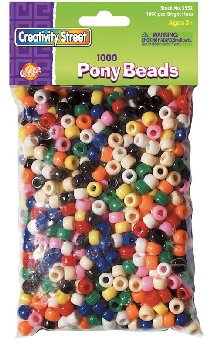 Pony Beads - Assorted Bright Hues (6mmx9mm) 1000 pieces