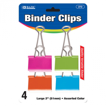 "Binder Clip Large 2"" (4/Pack) - Assorted Colors"