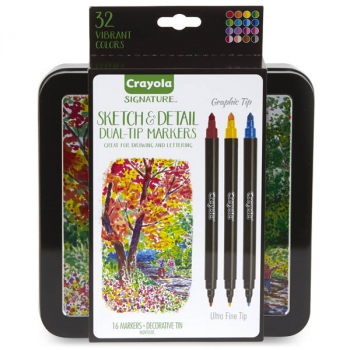 Crayola Signature Sketch & Detail Dual-Ended Markers - Super Tip/Ultra Fine Tip (16 count)