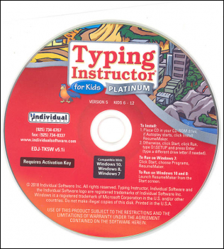 Typing Instructor for Kids Platinum 5.0 Windows in paper sleeve