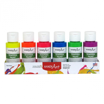 Tempera Paint Fluorescent Set - 2 oz (6  Colors)