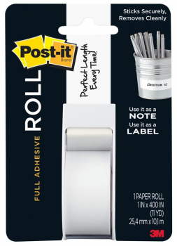 "Post-it Full Adhesive Roll - White (1"" x 400"")"