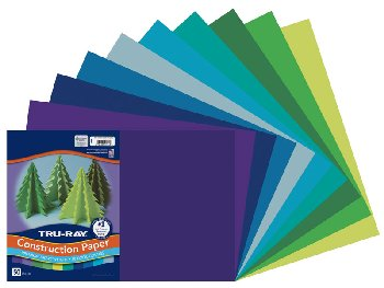"Tru-Ray Sulphite Cool Assorted Construction Paper  12"" x 18"" - 50 Sheets"