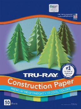 "Tru-Ray Sulphite Cool Assorted Construction Paper  9"" x 12"" - 50 Sheets"