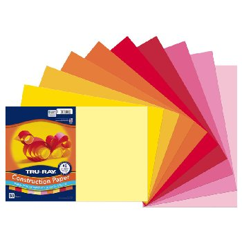 "Tru-Ray Sulphite Warm Assorted Construction Paper  12"" x 18"" - 50 Sheets"