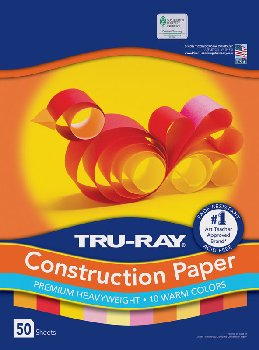 "Tru-Ray Sulphite Warm Assorted Construction Paper  9"" x 12"" - 50 Sheets"