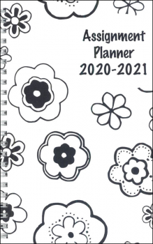 "Academic Weekly Assignment Book Planner Designer B & W Flowers 5"" x 8"" (August 2020 - August 2021)"
