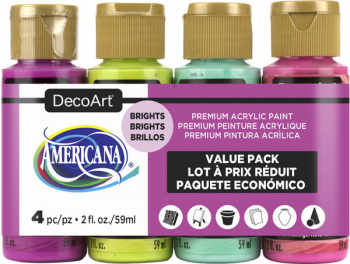 Americana Acrylic Paint 4 pack (2 oz) - Brights