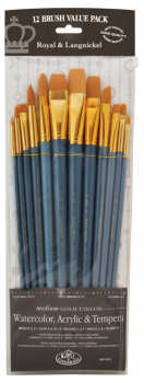 Zip N' Close Long Handle Medium Gold Taklon Brush Set
