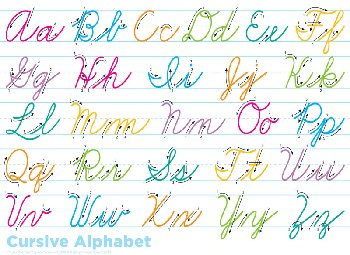 Traditional Cursive PosterMat Pals Space Savers