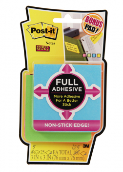 "Post-It Super Sticky Full Adhesive Notes - 3"" x 3"" (Assorted Bright)"