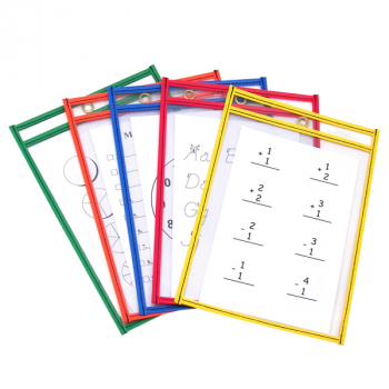 "Reusable Dry Erase Pockets Assorted Neon Colors - 6"" x 9"""