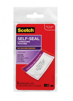 "Self-Sealing Laminating Pouches for Bag Tags with Loops - Glossy (2 13/16"" x 4 9/16"") 5 pack"