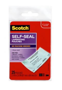 "Self-Sealing Laminating Pouches for Business/ID Card (2 7/16"" x 3 7/8"") 25 pack"