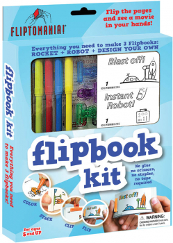 Flip Book Kits - SCI-FI TECH Kit (Rocket & Robot + blank books)