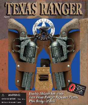 Texas Ranger Solid Die-Cast Metal Cap Gun Double Holster Set