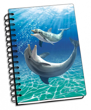 "Bubbles Dolphins 3D Notebook 4"" x 6"""