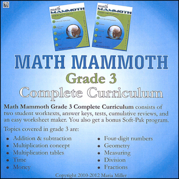 Math Mammoth Light Blue Series Grade 3 CD