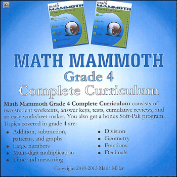 Math Mammoth Light Blue Series Grade 4 CD