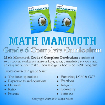 Math Mammoth Light Blue Series Grade 6 CD