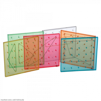 "Transparent Colored Rainbow Geoboard 6"" 5x5 pin - single-sided - assorted color"