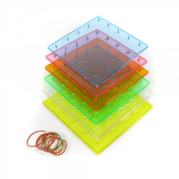 "Transparent Rainbow Colored Geoboards 6"" 5x5 pin - single-sided (set of 6)"
