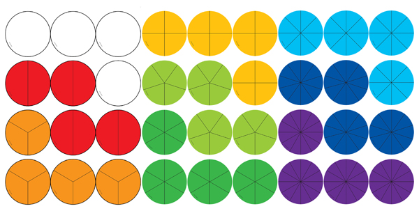 Fraction Circles Curriculum Cut-Outs (pack of 36)