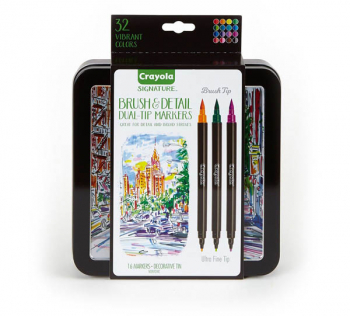 Crayola Brush Markers, Dual-Tip with Ultra Fine Marker (16 markers, 32 colors)