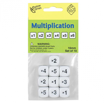 Math Numbers Multiplication - Round Cornered Dice (10 per bag - 16mm)