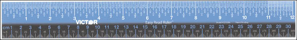 "Easy Read 12"" Plastic Ruler (Blue/Black)"