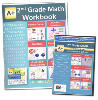 A+ Interactive Math 2nd Grade Standard Edition CD Software & Workbook Bundle