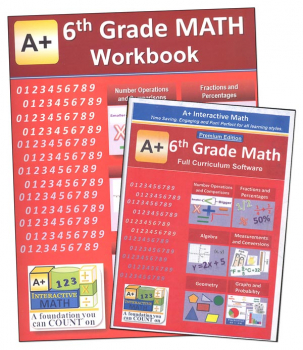 A+ Interactive Math 6th Grade Premium Edition CD Software & Workbook Bundle