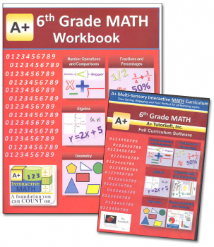 A+ Interactive Math 6th Grade Standard Edition CD Software & Workbook Bundle