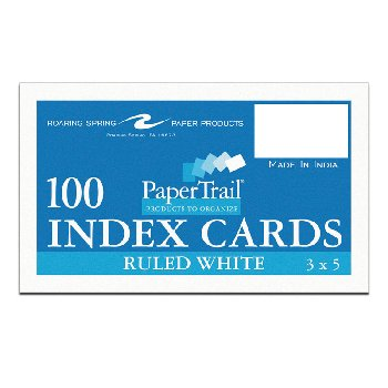 "Ruled Index Cards (3"" x 5"") White"