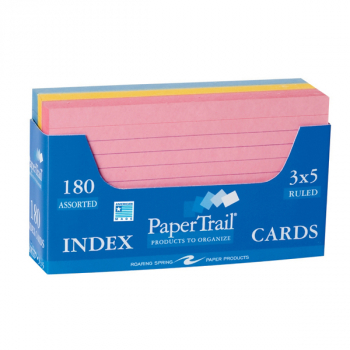 "Trayed Index Cards - Faint Lined (3"" x 5"") Assorted Colors"