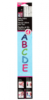 Sticky Fabric Stencil - Multi Glitter ABC Comic