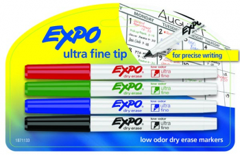 Expo Low Odor Ultra Fine Dry Erase Markers (4 assorted colors)