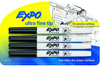 Expo Low Odor Ultra Fine Dry Erase Markers (4 Black)